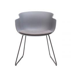 Chaise luge Bai avec coussin d'assise en tissu Era Present, Ondarreta, Gris Anthracite