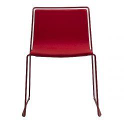 Chaise minimaliste Alo, structure acier rouge nectarine et tissu Valencia Nectarine, Ondarreta