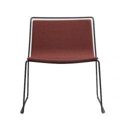 Chaise minimaliste Alo XL, structure acier noir et tissu skye rouge et noir, Ondarreta