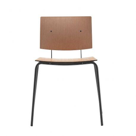 Chaise vintage Don, structure acier noir et assise effet bois, Ondarreta