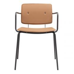 Chaise vintage Don avec accoudoirs, structure acier noir et assise cuir Caramel, Ondarreta