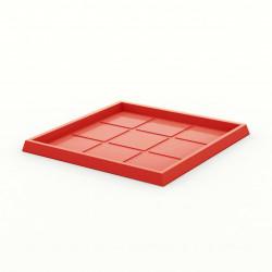 Soucoupe carrée 60x60 cm Vondom, pour pot 50x50 cm, simple paroi, rouge