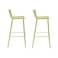 Lot de 2 Tabourets de bar filaires Nolita 3658, Pedrali vert, hauteur d'assise 75 cm