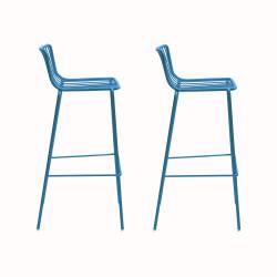 Lot de 2 Tabourets de bar filaires Nolita 3658, Pedrali bleu, hauteur d'assise 75 cm