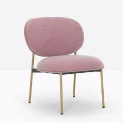Petit fauteuil design confortable, Blume 2951, Pedrali, tissu Jaali Kvadrat, rose, structure laiton, 63x63xH76,5 cm