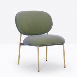 Petit fauteuil design confortable, Blume 2951, Pedrali, tissu Jaali Kvadrat, vert sauge, structure laiton, 63x63xH76,5 cm