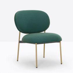 Petit fauteuil design confortable, Blume 2951, Pedrali, tissu Jaali Kvadrat, vert foncé, structure laiton, 63x63xH76,5 cm