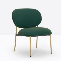 Petit fauteuil design confortable, Blume 2951, Pedrali, tissu Relate Kvadrat, vert foncé, structure laiton, 63x63xH76,5 cm