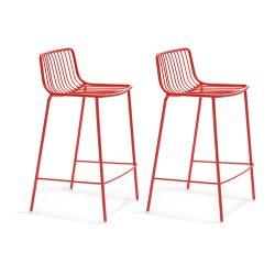 Lot de 2 Tabourets hauts métal filaire Nolita 3657, Pedrali rouge, hauteur d'assise 65 cm