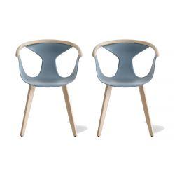 Lot de 2 fauteuils Fox 3725, assise bleu, pieds frêne clair, Pedrali, H79xL60,5xl53