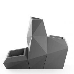Ensemble de 3 pots Faz, Taille XL, Vondom, gris argent