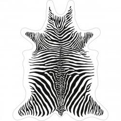 Tapis Zèbre fond blanc M, vinyle forme peau de bête, 90x113cm, collection Baba Souk, Pôdevache