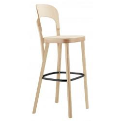 Tabouret 107 H hauteur d'assise 76cm Thonet, hêtre blanchi