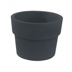 Lot de 2 Pots Vaso diamètre 50 x hauteur 38 cm, simple paroi, Vondom gris anthracite