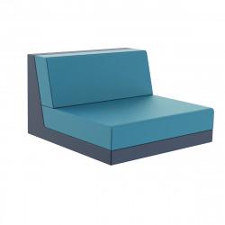 Salon de jardin Pixel, module central bas dossier H63cm bleu marine, Vondom, tissu Glad Aquamarina 1003