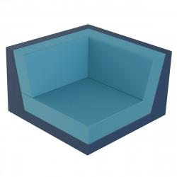 Canapé composable outdoor Pixel, module d'angle bleu marine, Vondom, tissu Glad Aquamarina 1003