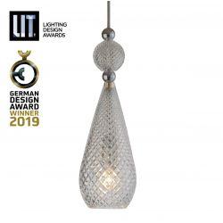 Suspension pendentif verre soufflé Smykke Doré fumé, diamètre 12,5 cm, Ebb & Flow, accessoires et câble dorés