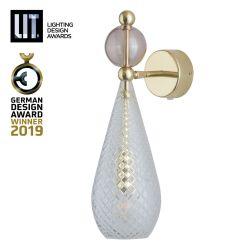 Lampe applique pendentif Smykke Crystal avec boule obsidienne, diamètre 12,5 cm, Ebb & Flow, accessoires dorés