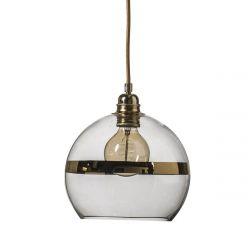 Suspension Rowan Transparent avec bande doré, diamètre 22 cm, Ebb & Flow, douille et câble dorés