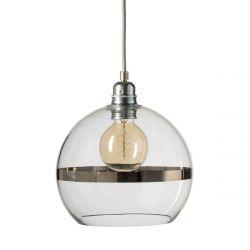 Suspension Rowan Transparent avec bande platine, diamètre 22 cm, Ebb & Flow, douille et câble argenté